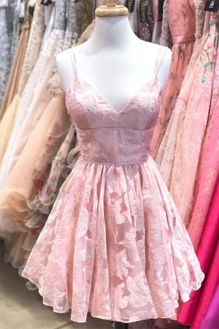 A Line Spaghetti Straps Pink Lace Appliques Jacquard V Neck Short Homecoming Dresses uk PH995