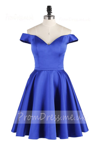 A Line Off the Shoulder Royal Blue Cute Short Prom Dresses,Homecoming Dresses uk PH837