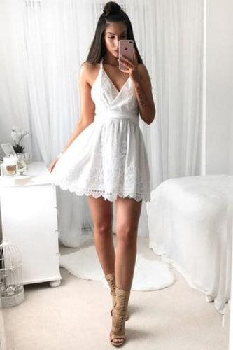 A Line V Neck Spaghetti Strap Short Lace White With Criss-Cross Mini Homecoming Dress PH590