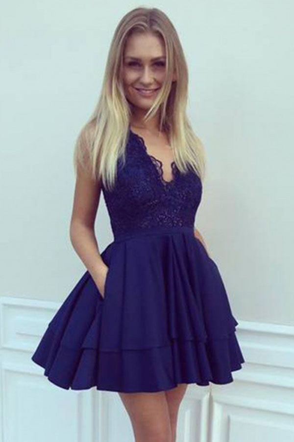 A-Line V Neck Short Navy Blue Satin Homecoming Dresses with Lace Sequins Pockets PH709
