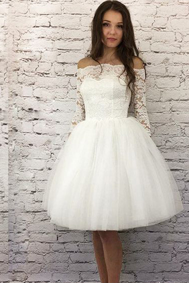 Chic Off the Shoulder Half Sleeves White Lace Short Tulle Homecoming Dresses uk PH938