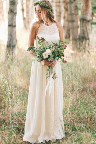 Simple A Line Round Neck Chiffon Long Bridal Dresses,Beach Wedding Dresses uk PH972