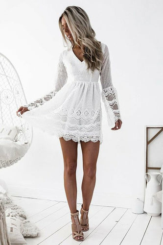 A Line Long Sleeve White Simple Lace Short Sexy Criss Cross Above Knee Homecoming Dress PH783