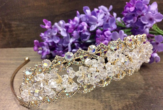 Quinceanera Headpiece, wedding tiara, wedding headband tiara, Crystals and diamond Tiara headband