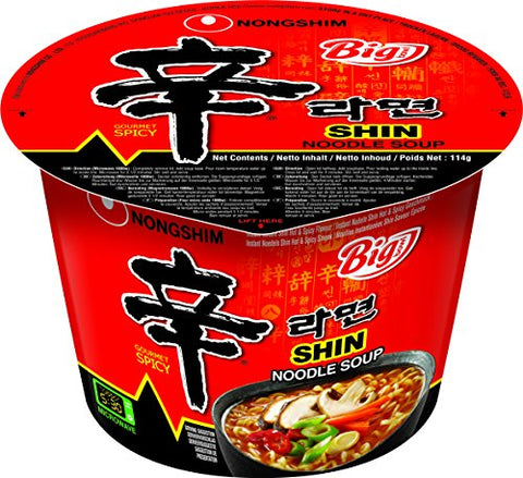 Nong Shim Shin Noodle Big Bowl, 114 g, Pack of 16