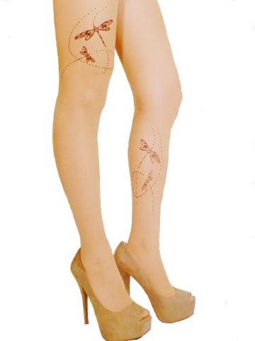 Lace Poet Comic Dragonfly Trail Tattoo Tights