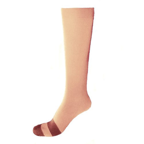 Bamboo Silk Antimicrobial Flight Compression Socks; 160 Denier; Tan