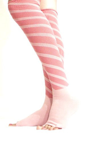 Lace Poet Fuschia/Pink Stripe Yoga/sleep Over the Knee Compression Toeless Socks