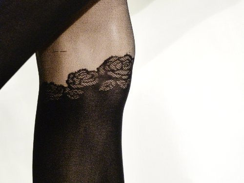 Nouveau Art Design Lilly Pad Faux Thigh High Tights/Pantyhose