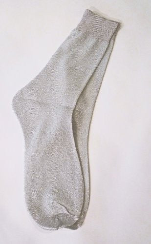 Silver Metallic Soft Loose Knit Socks S-M