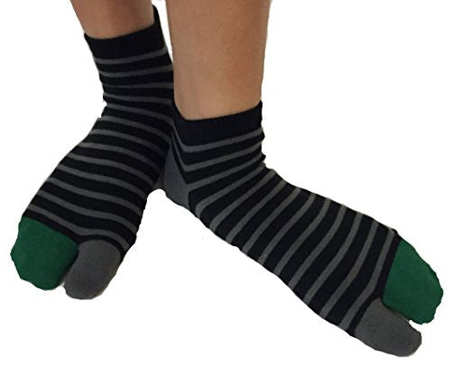 Tabi Socks- Comfortable Soft Black/Gray/Green Stripes Ankle-High Toe Socks