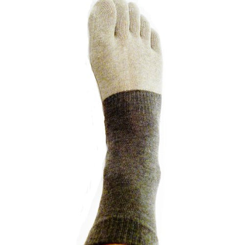 Ankle-High Microbial Gray/Black Bamboo Toe Socks