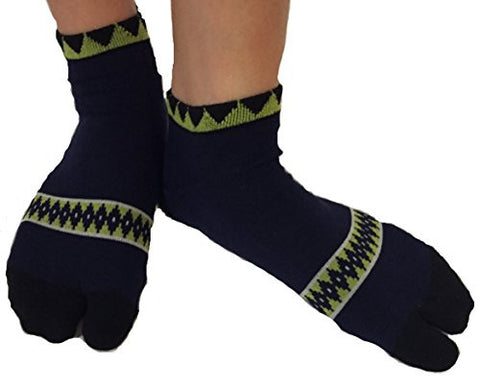Tabi Socks- Comfortable Soft Dark Blue/Lime Green Diamond Pattern Ankle-High Toe Socks