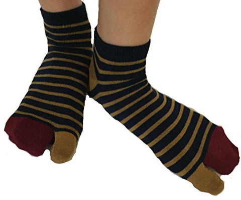 Tabi Socks- Comfortable Wine Red/Brown Stripes Ankle-High Toe Socks