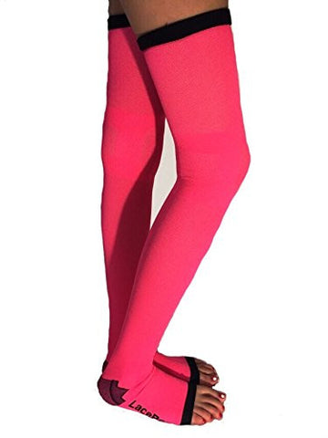 Lace Poet Neon Pink Yoga/Sleep Thigh-High Compression Toeless Socks