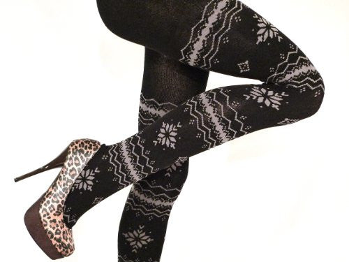Lace Poet Thick Warm Snowflake Nordic Sweater Footed Tights