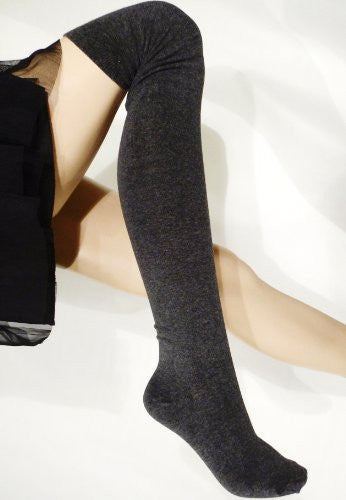 Lace Poet Gray Fleece Sweater Warm Over the Knee Socks