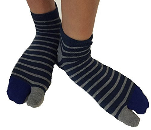Tabi Socks- Comfortable Soft Dark Blue/Gray Stripes Pattern Ankle-High Toe Socks