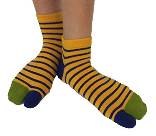 Tabi Socks- Comfortable Yellow/Green/Blue Stripes Ankle-High Toe Socks