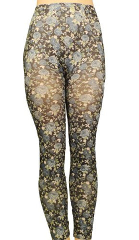 Lace Poet Colorful Blue Rose Garden Fashion Legging