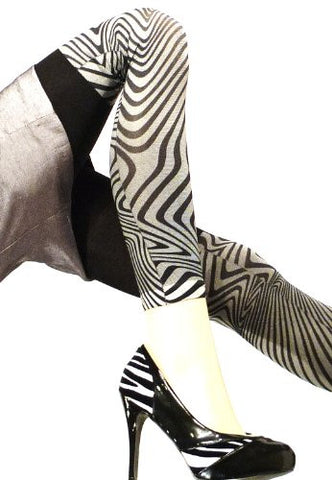 Lace Poet Black/Gray Zebra Animal Print Leggings