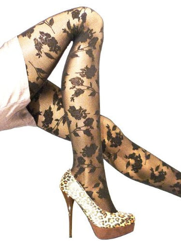 Lace Poet Rose Pattern Pantyhoses