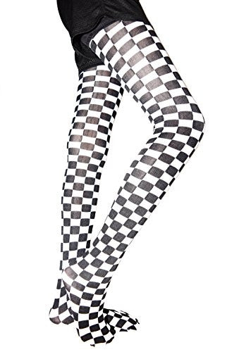 Lace Poet F1 Grand Prix Black/White Checked Pattern Leggings/ Tights