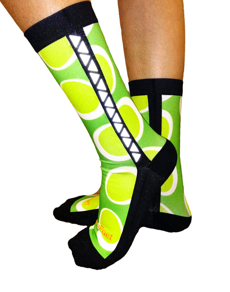 Lace Poet Designer Reflective Stripe Compression Crew Socks