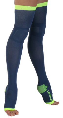 Lace Poet Mystic Blue Yoga/Sleep Thigh-High Compression Toeless Socks