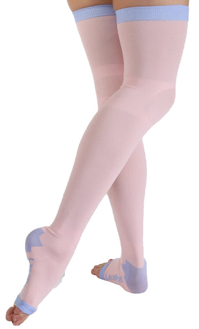 Plus Size Lace Poet Pink Yoga/Sleep Thigh-High Compression Toeless Socks