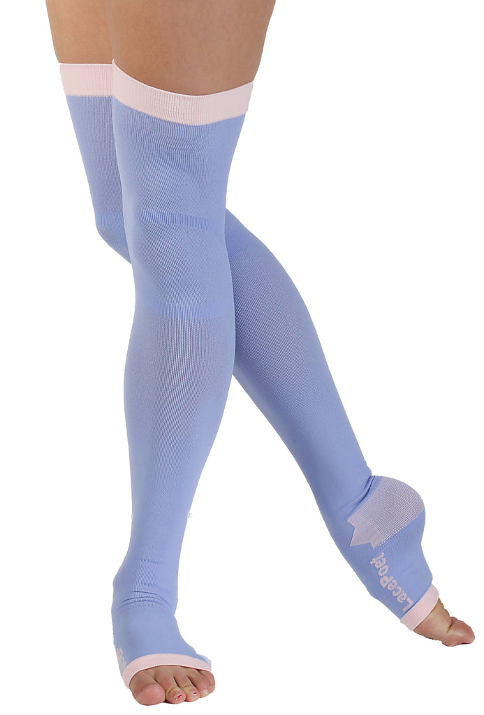 Lace Poet Purple Yoga/Sleep Thigh-High Compression Toeless Socks