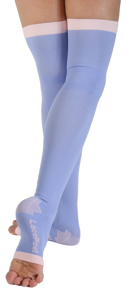 Plus Size Lace Poet Purple Yoga/Sleep Thigh-High Compression Toeless Socks