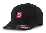 Letter D for Devil in Red and White on black cap hat