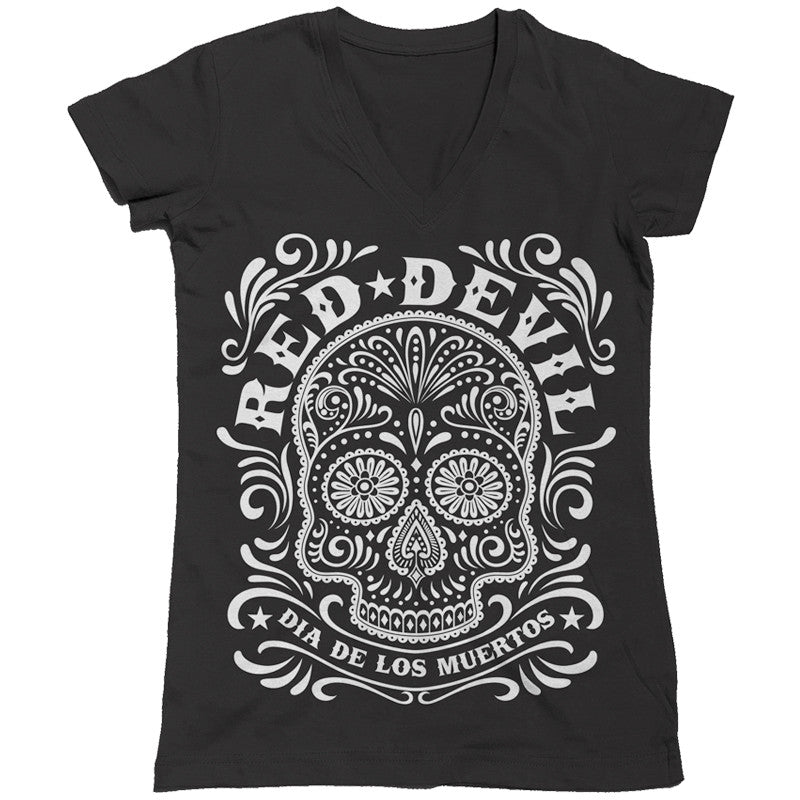 Sugar Skull – Ladies' V-Neck T-Shirt