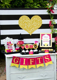 Pink BRIDAL SHOWER- Bridal BURSTS - Pink Heart- Black and White Stripe
