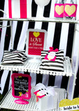 Gold Heart - Shower BACKDROP - Black and White Stripe