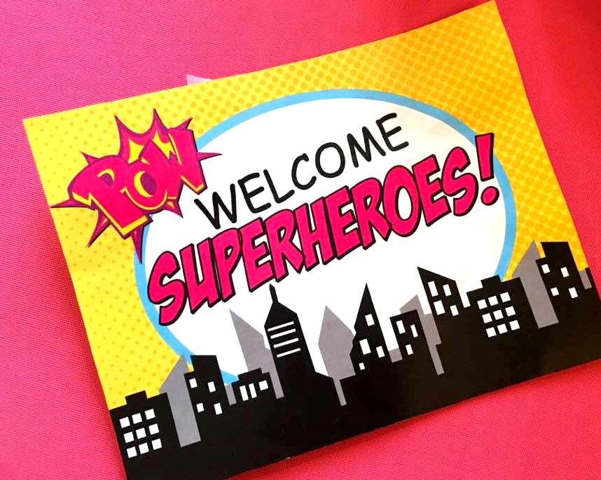 SUPERHERO Party- COMIC HERO Party- SUPERGIRL Birthday- Superhero WELCOME SIGN- Comic Party