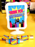 SUPERHERO Party- COMIC BOOK Party- SuperGIRL Birthday- Superhero CANDY BAR LABEL