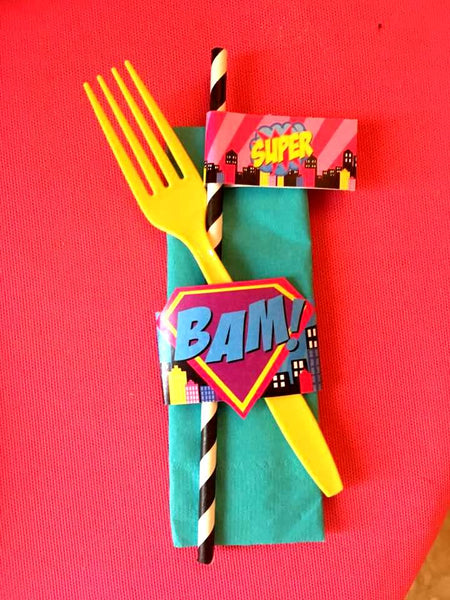 SUPERHERO Party- COMIC BOOK Party- SuperGIRL Birthday- Superhero NAPKIN RINGS