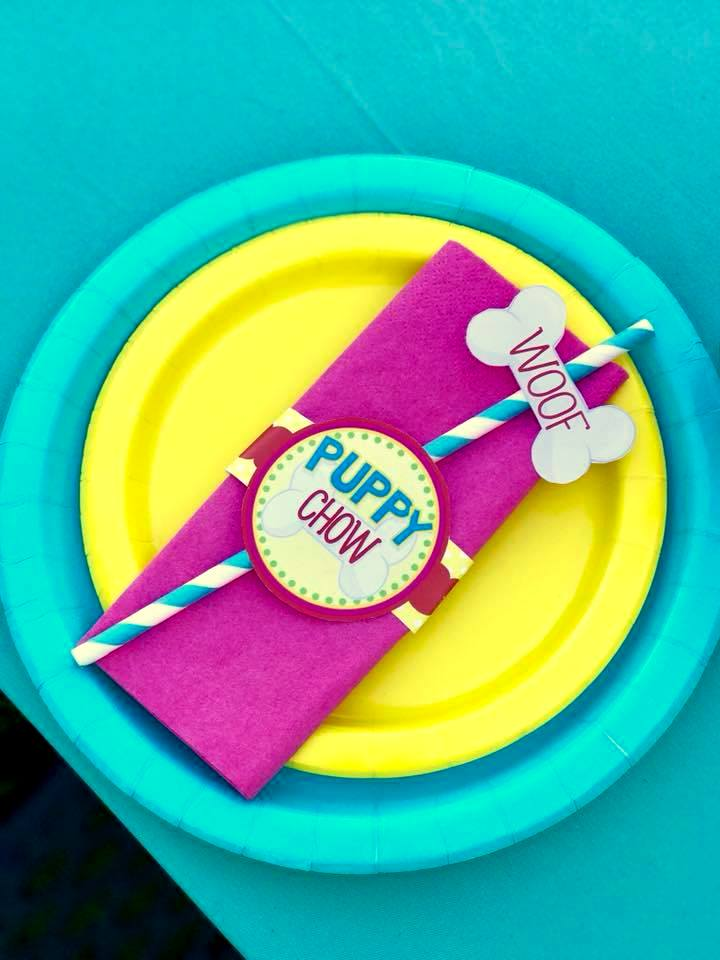 PUPPY PARTY - Dog Adoption Party - Puppy Birthday - Dog Bone STRAW FLAGS -Dog Party