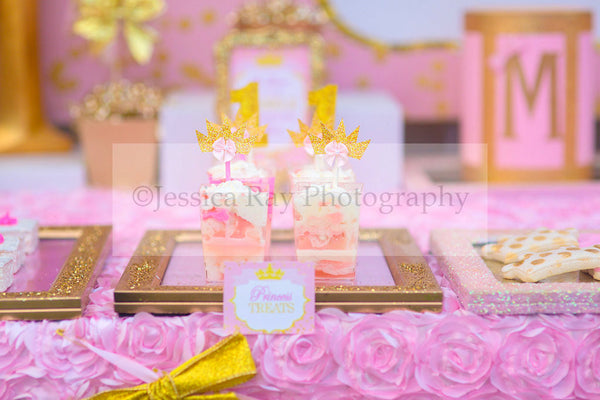 PRINCESS Birthday - Sparkle FOOD LABELS - Pink and Gold Party