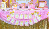 PRINCESS Birthday - Sparkle CANDY LABELS- Pink and Gold Party
