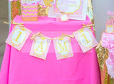 PRINCESS Birthday - Sparkle BANNERS - She Leaves Sparkles - First Birthday - Crown Party - Princess Party - Little Girl - Pink - 1st Birthday - Girl - INSTANT DOWNLOAD