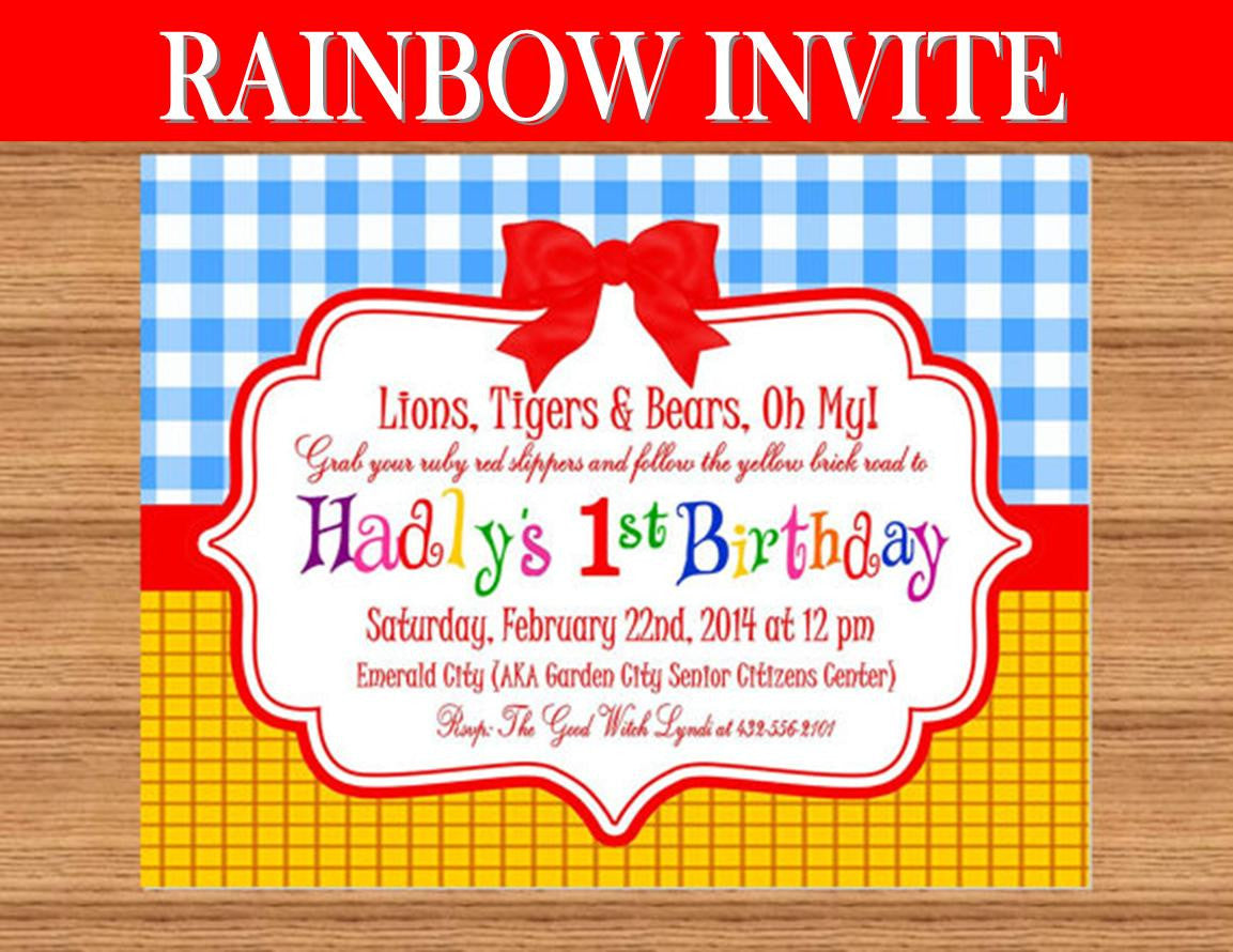 RAINBOW PARTY - Red Slippers - Dorothy INVITATION