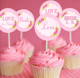 PINK BRIDAL SHOWER- Bridal CUPCAKE TOPPERS- Party- Pink Wedding- Bridal Shower