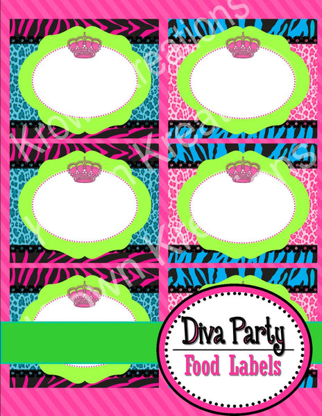 GLAMOUR GIRL - Animal Print Party - Fashion Party - Cheetah Party - Zebra - Diva - Rock Star - Neon - FOOD LABELS