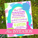 WONDERLAND INVITATION- ALICE Party- Alice Invite- Wonderland Party- Mad Hatter Invite