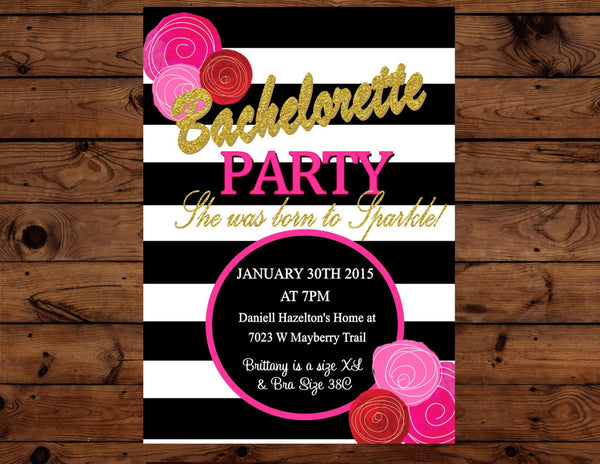 BRIDAL SHOWER INVITATION- Black and White Stripe- Pink