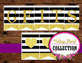 Gold Heart - SIGN - Black and White Stripe - Wedding
