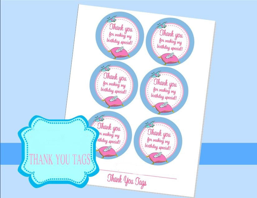 PRINCESS- THANK YOU TAGS- BLUE -Princess Birthday -Girl